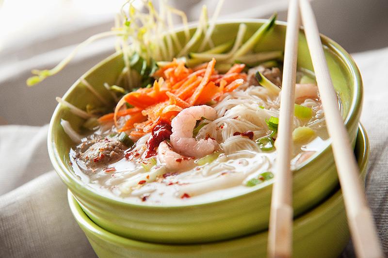 Bowl of shrimp noodles